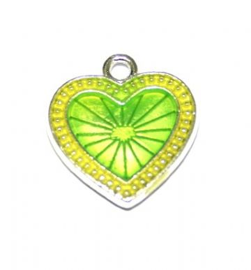 1pce x 22mm*20mm Lime green enameled alloy star burst heart charms / pendants